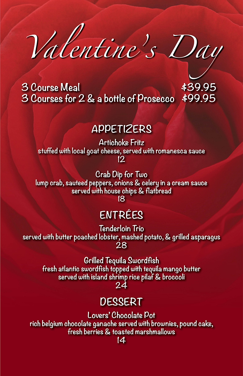 Valentine S Day Dinner For 2barlows Restaurant